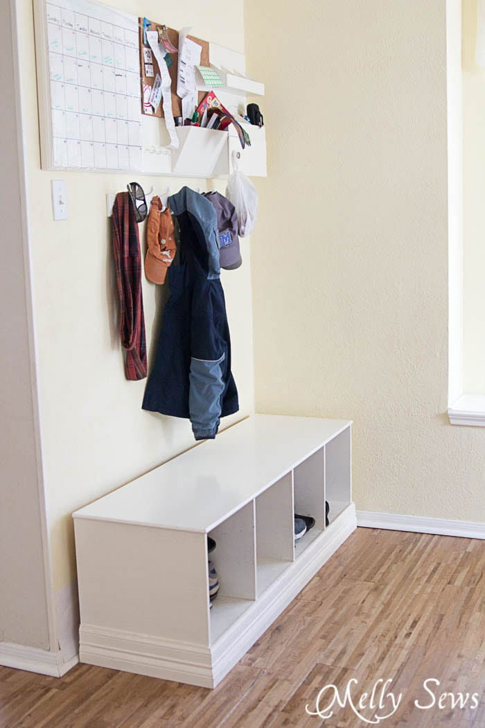 DIY command center - keep shoes organized - DIY Concrete Counters - White Kitchen Makeover on a budget - DIY remodel from dull and dated to white and bright - Melly Sews