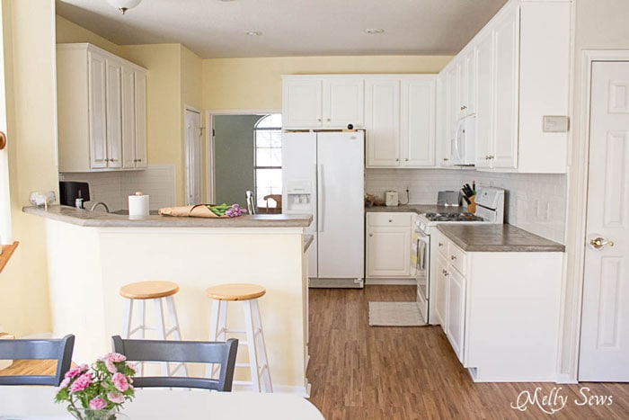 White Kitchen Makeover on a budget - DIY remodel from dull and dated to white and bright - Melly Sews