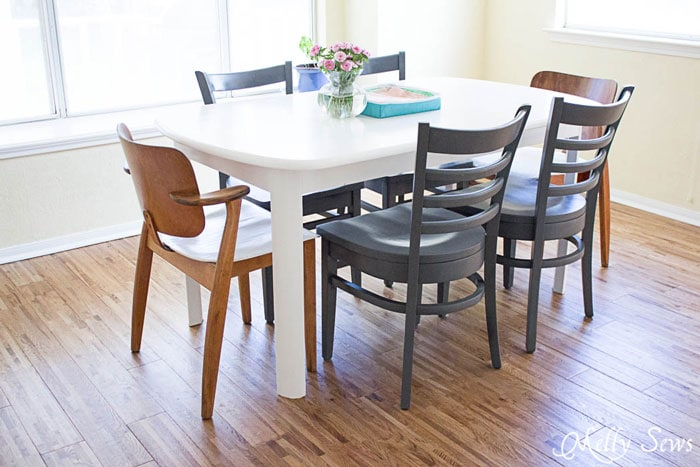 Updated Kitchen Table - Painted Chairs - White Kitchen Makeover on a budget - DIY remodel from dull and dated to white and bright - Melly Sews