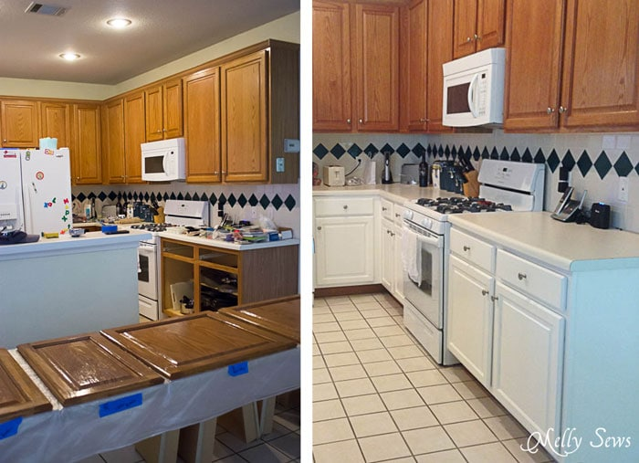 Before - Oak cabinets and builder grade tile - White Kitchen Makeover on a budget - DIY remodel from dull and dated to white and bright - Melly Sews