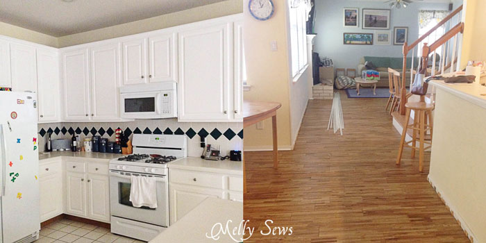 Painted cabinets and new floor - White Kitchen Makeover on a budget - DIY remodel from dull and dated to white and bright - Melly Sews