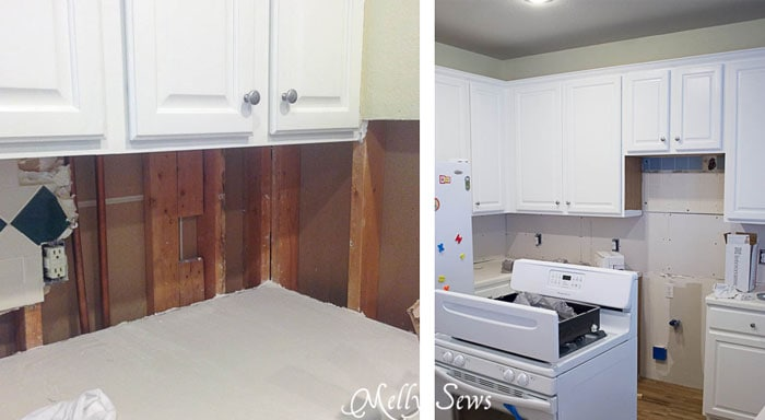 DIY Subway Tile Backsplash - White Kitchen Makeover on a budget - DIY remodel from dull and dated to white and bright - Melly Sews