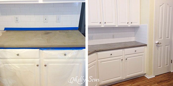 DIY Concrete Counters - White Kitchen Makeover on a budget - DIY remodel from dull and dated to white and bright - Melly Sews