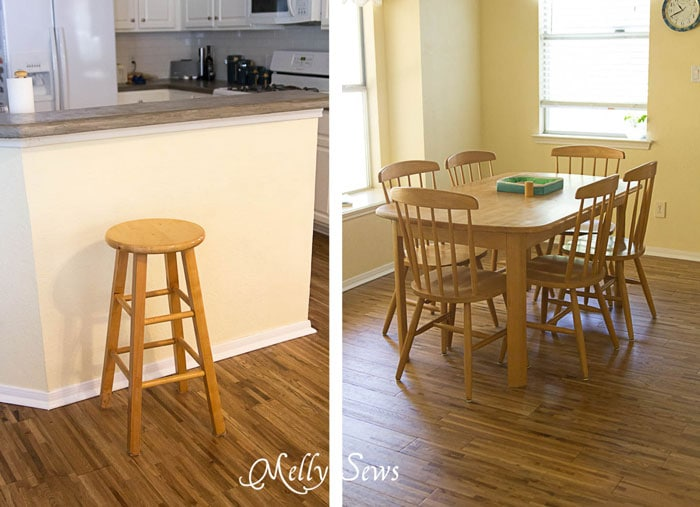 Blonde wood furniture -White Kitchen Makeover on a budget - DIY remodel from dull and dated to white and bright - Melly Sews