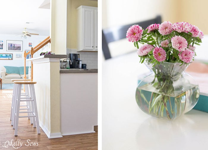 Painted Stools - White Kitchen Makeover on a budget - DIY remodel from dull and dated to white and bright - Melly Sews