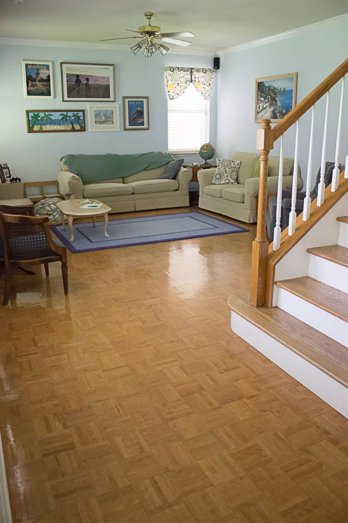 Living room - parquet floor - White Kitchen Makeover on a budget - DIY remodel from dull and dated to white and bright - Melly Sews