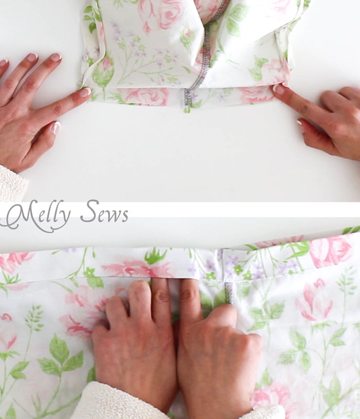 Step 5 - Sew Pajama Shorts with a Sweet Scallop detail - Free pattern and DIY tutorial on Melly Sews