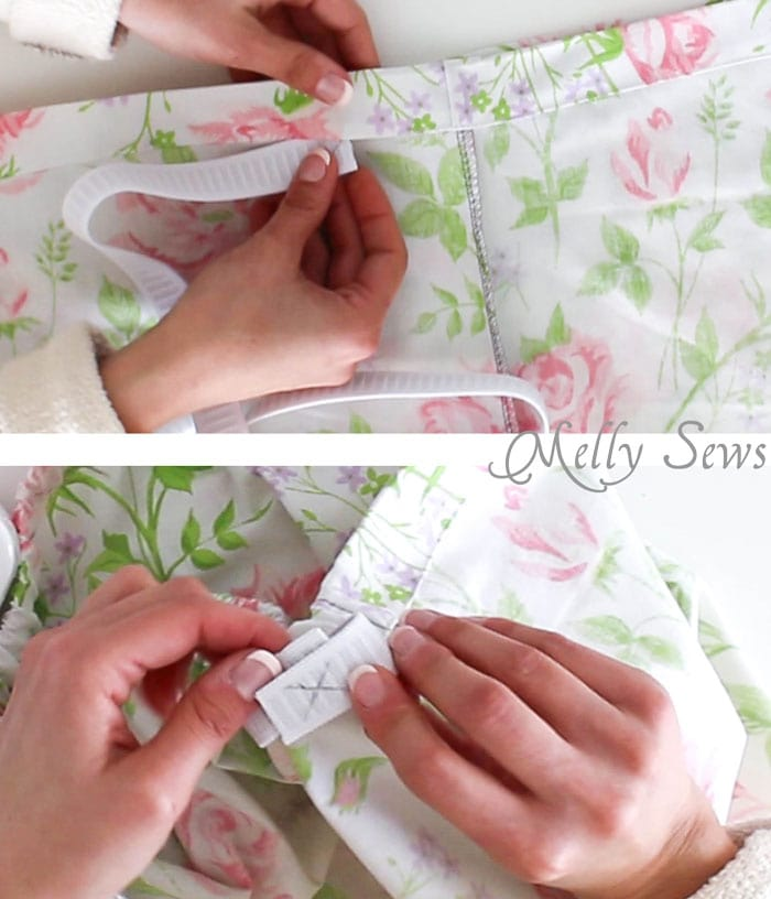 Step 6 - Sew Pajama Shorts with a Sweet Scallop detail - Free pattern and DIY tutorial on Melly Sews