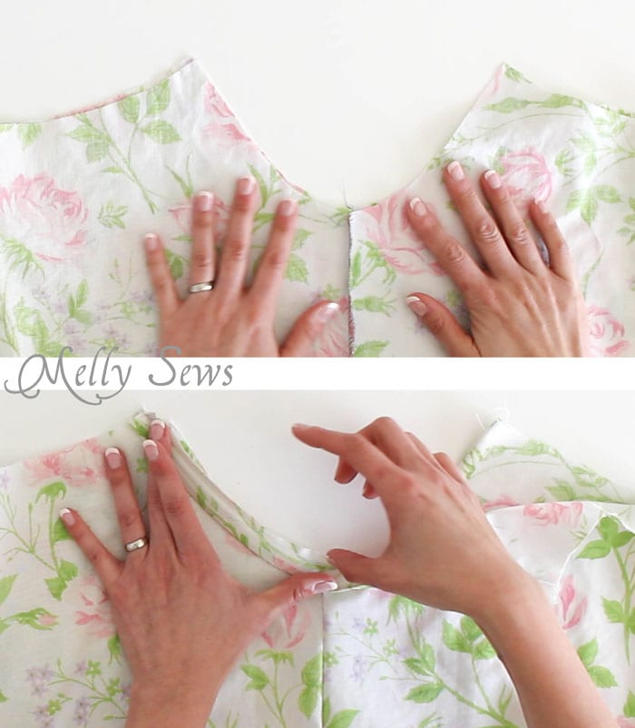 Step 1 - Sew Pillowcase Top Pajamas - DIY sewing tutorial from a vintage sheet - Melly Sews
