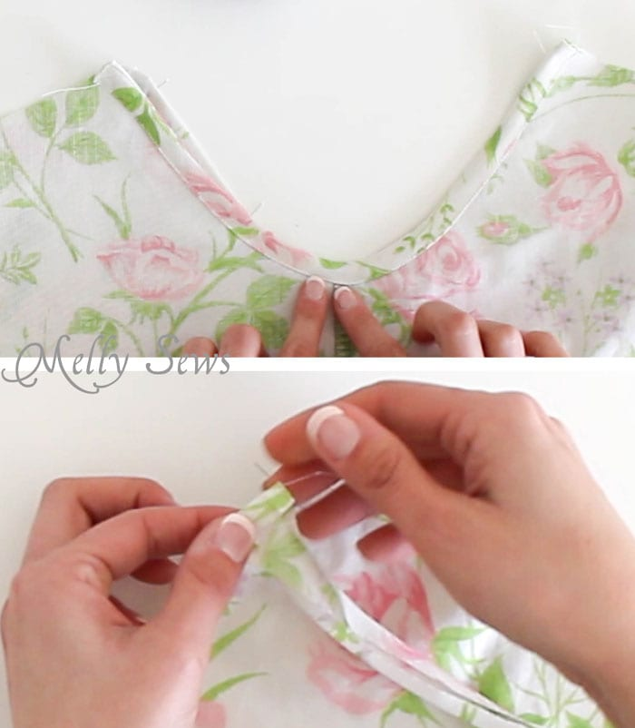 Step 2 - Sew Pillowcase Top Pajamas - DIY sewing tutorial from a vintage sheet - Melly Sews