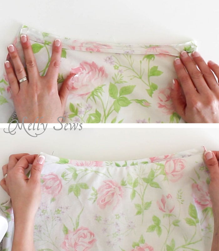 Step 3 -Sew Pillowcase Top Pajamas - DIY sewing tutorial from a vintage sheet - Melly Sews