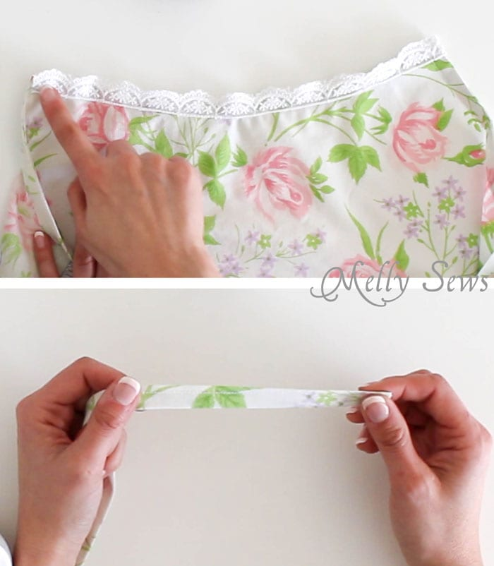 Step 4 - Sew Pillowcase Top Pajamas - DIY sewing tutorial from a vintage sheet - Melly Sews