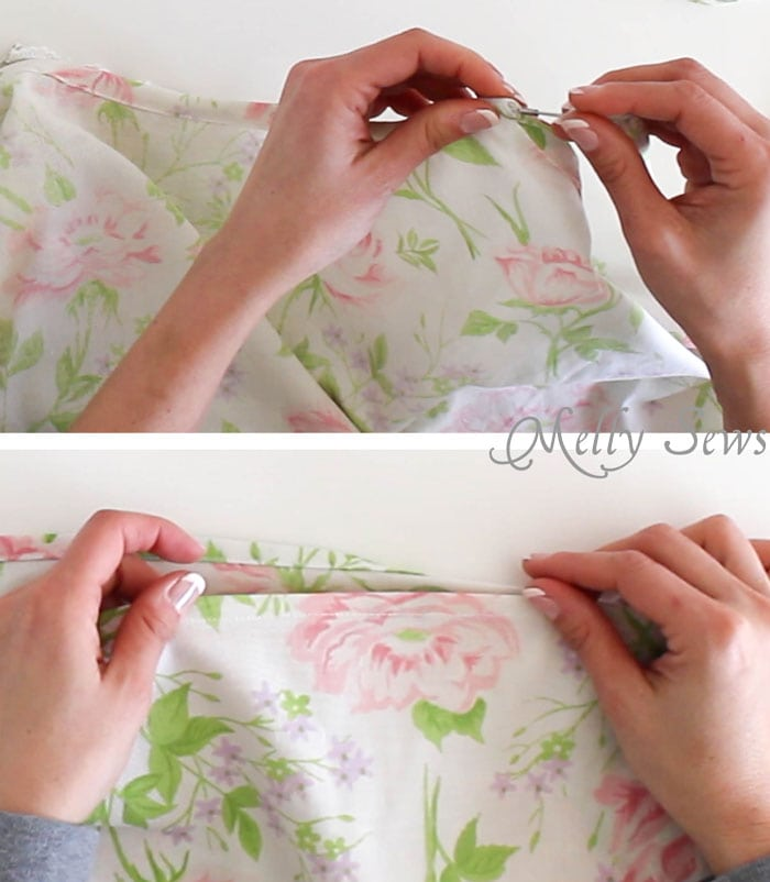 Step 5 - Sew Pillowcase Top Pajamas - DIY sewing tutorial from a vintage sheet - Melly Sews