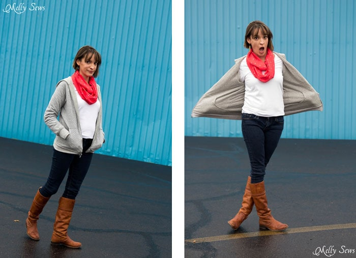 How to sew a reversible hoody - DIY tutorial by Melly Sews - Zinnia Jacket sewing pattern by Blank Slate Patterns