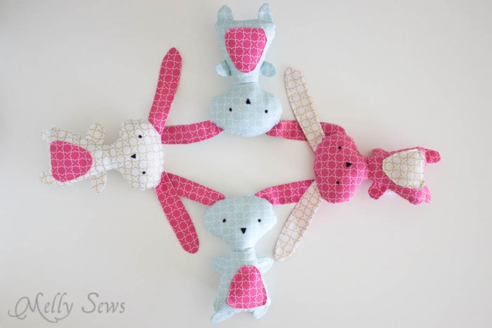 Cute Easter bunnies - Sew a Bunny - DIY Easter Bunny Tutorial - Free Pattern to sew this cute bunny - would make a great baby gift! - Melly Sews