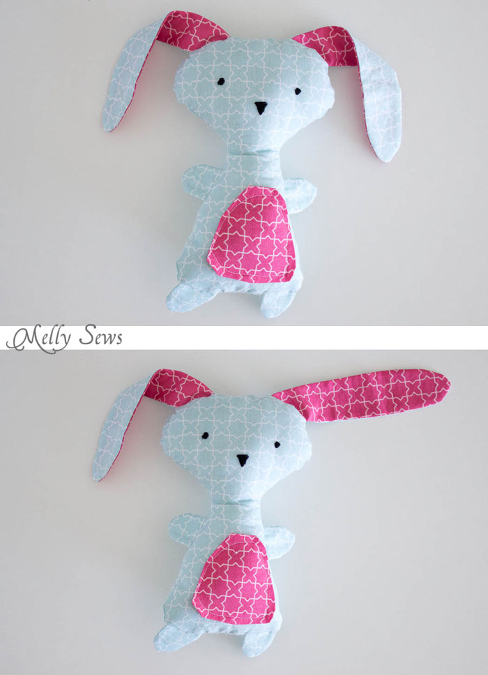 Floppy eared rabbit - Sew a Bunny - DIY Easter Bunny Tutorial - Free Pattern to sew this cute bunny - would make a great baby gift! - Melly Sews