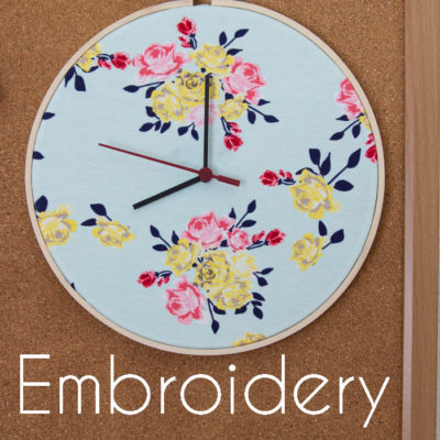 Embroidery Hoop Clock – Sewing Room Project