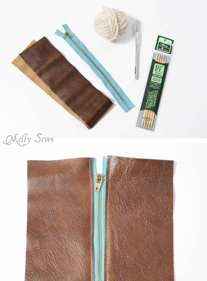Supplies - Make a knit and leather zipper pouch - combine sewing and knitting in this modern DIY clutch - Melly Sews