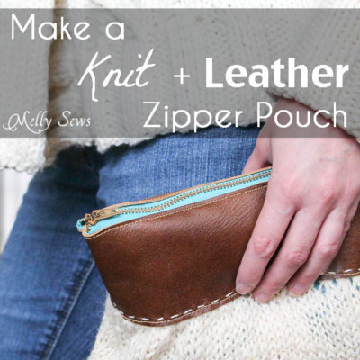 Knit and Leather Zipper Pouch