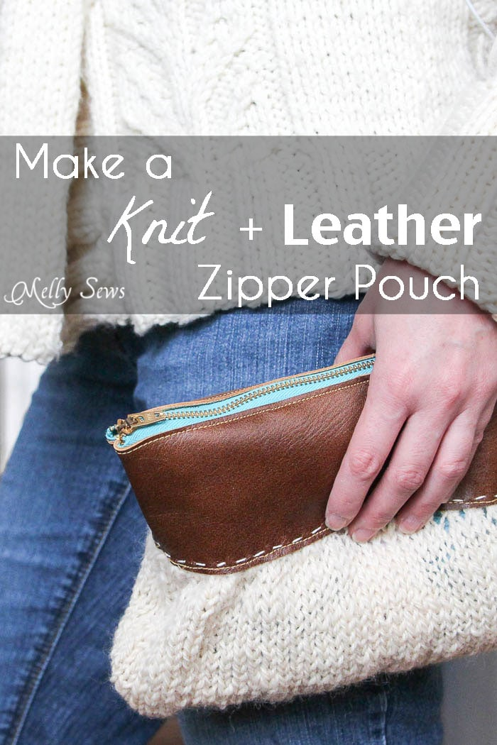 Make a knit and leather zipper pouch - combine sewing and knitting in this modern DIY clutch - Melly Sews