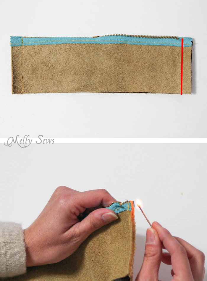 Step 1 - Make a knit and leather zipper pouch - combine sewing and knitting in this modern DIY clutch - Melly Sews