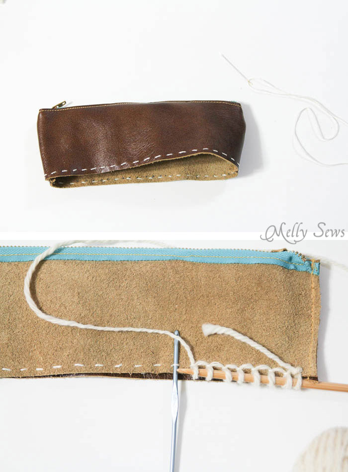 Step 2 - How to cast on to leather - Make a knit and leather zipper pouch - combine sewing and knitting in this modern DIY clutch - Melly Sews