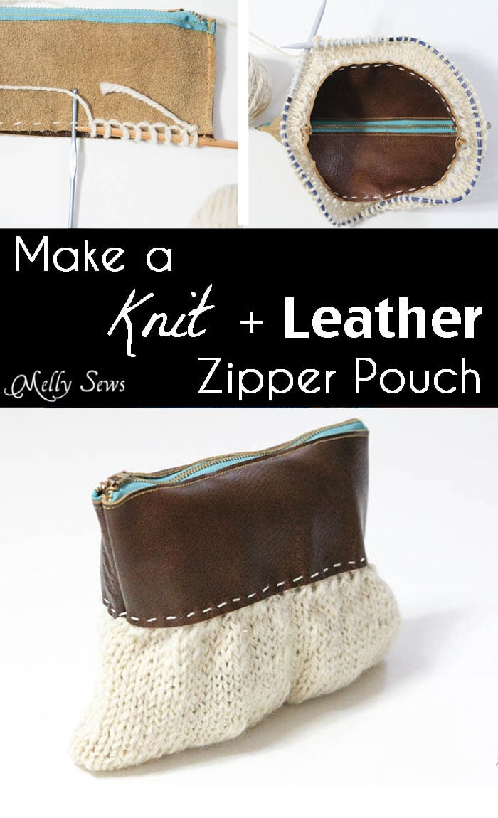 Want! Make a knit and leather zipper pouch - combine sewing and knitting in this modern DIY clutch - Melly Sews