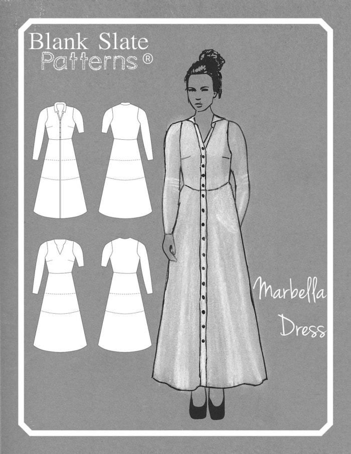 Line Drawing -Marbella Dress by Blank Slate Patterns - Knit Dress Sewing Pattern with 2 bodice, 2 sleeve and 3 length options