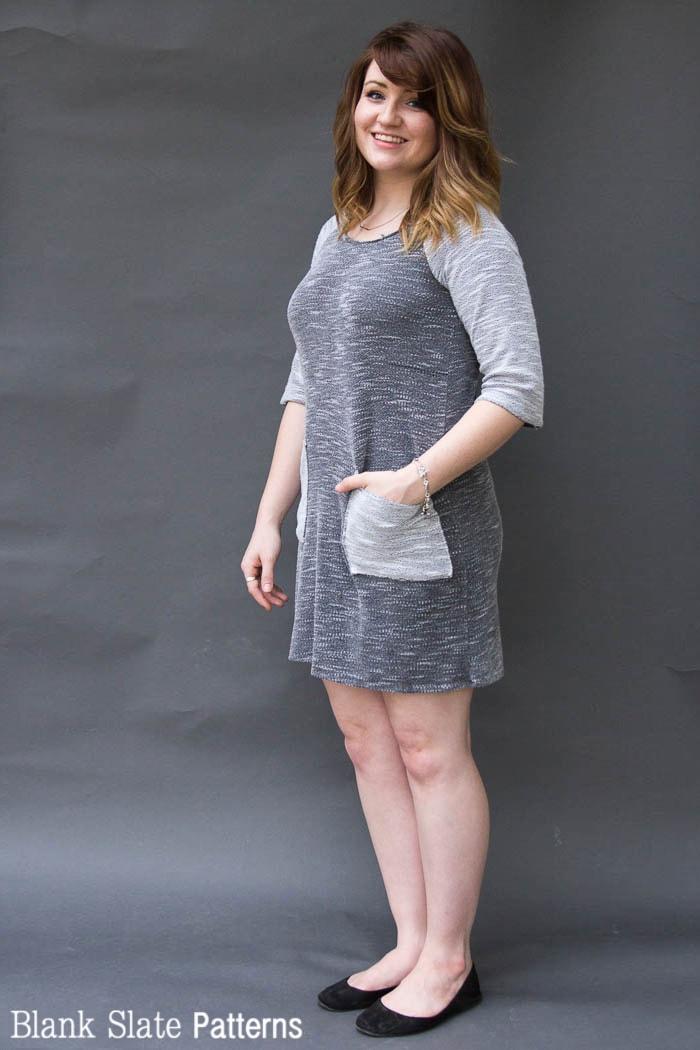 Dress version - Rivage Raglan - Women's Raglan T-shirt Sewing Pattern by Blank Slate Patterns