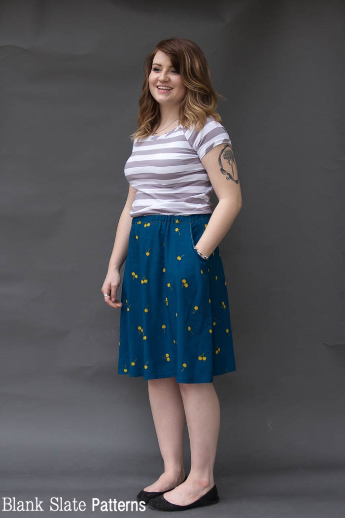Striped Rivage Raglan and Marigold Skirt - Rivage Raglan - Women's Raglan T-shirt Sewing Pattern by Blank Slate Patterns