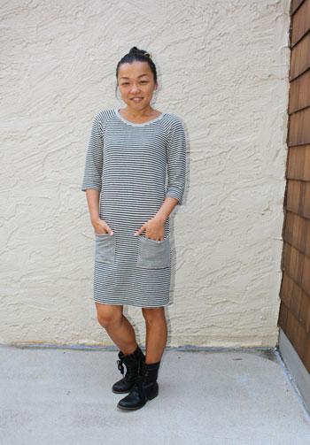 Tester dress version - Rivage Raglan - Women's Raglan T-shirt Sewing Pattern by Blank Slate Patterns