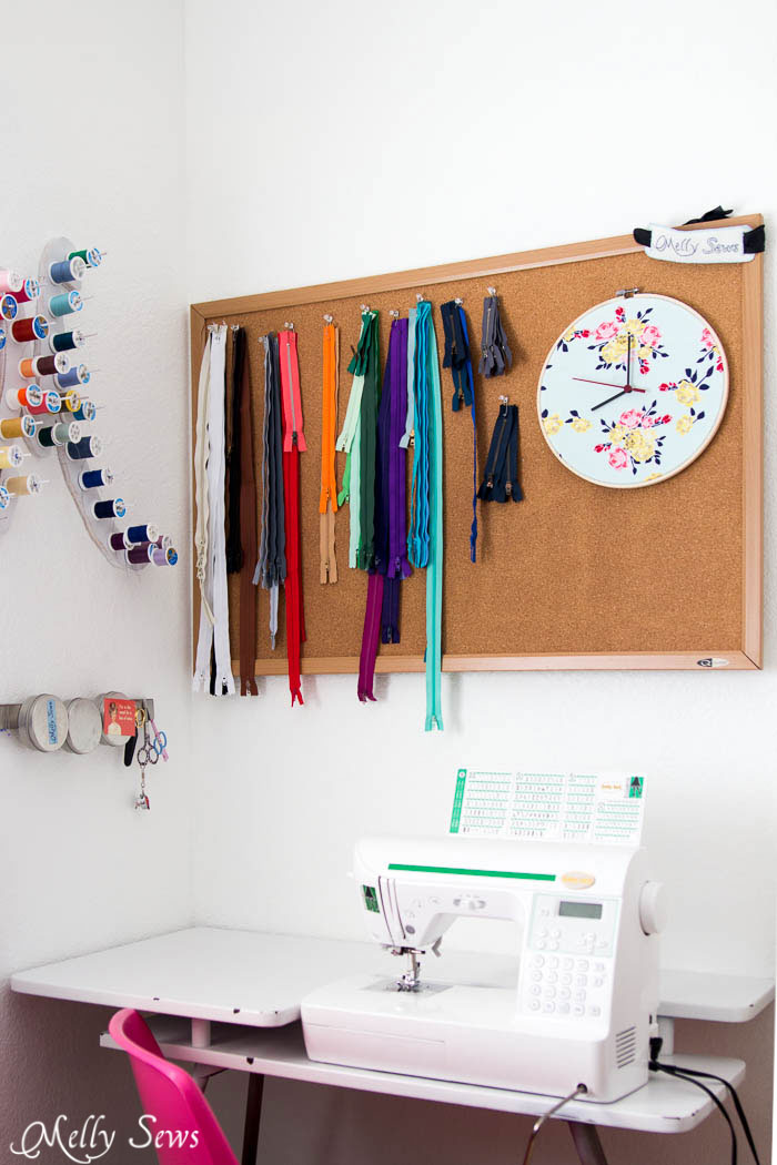 Love this sewing room corner - Make a Clock from an Embroidery Hoop - DIY Sewing Clock - Melly Sews