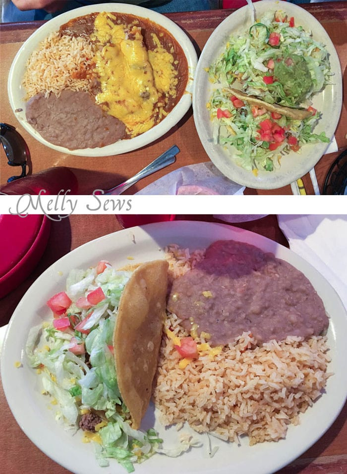 Entrees at Amaya's - Austin Creative ReUse and Amaya's Taco Village - Austin Notebook - Melly Sews