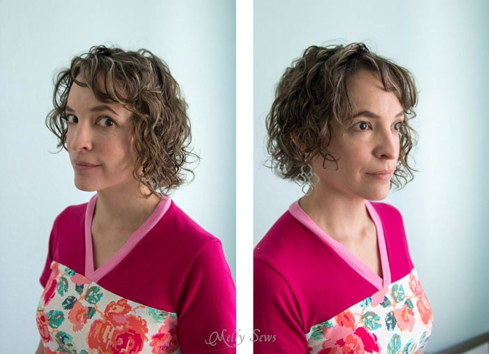 Hair after mostly drying in a plopping towel - Melly Sews