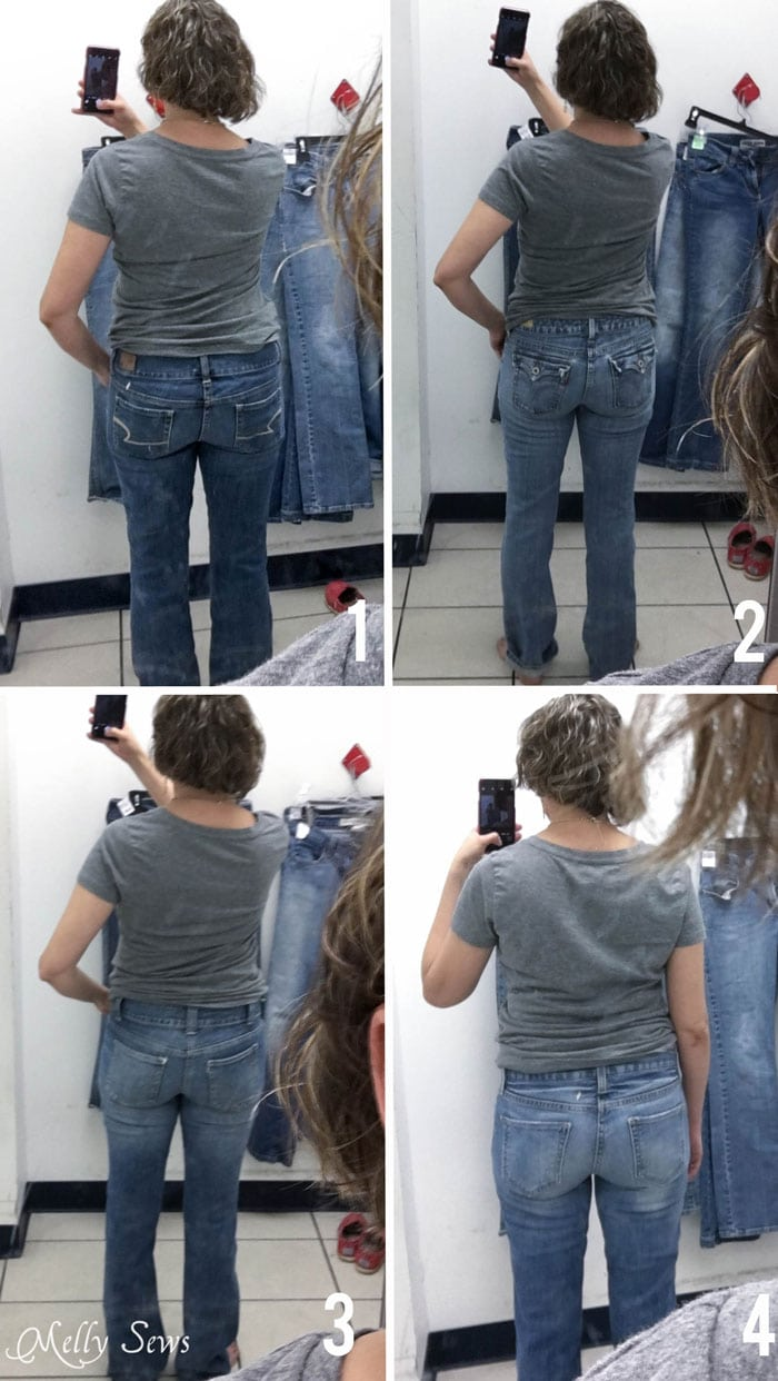 Shopping for Jeans at the Thrift Store - Turn a pair of thrifted jeans into a perfect fit - Flare jeans to skinny jeans - DIY Tutorial by Melly Sews
