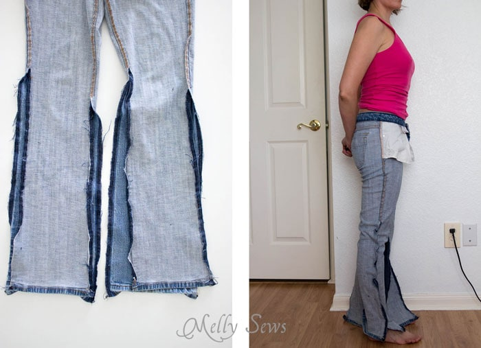 Step 1 -Turn a pair of thrifted jeans into a perfect fit - Flare jeans to skinny jeans - DIY Tutorial by Melly Sews