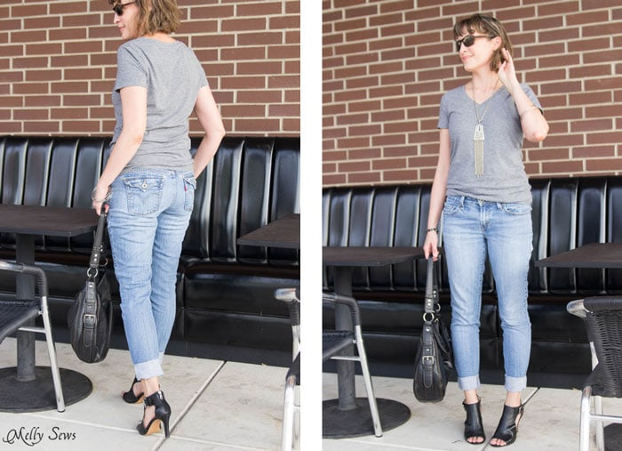 Back view - Turn a pair of thrifted jeans into a perfect fit - Flare jeans to skinny jeans - DIY Tutorial by Melly Sews