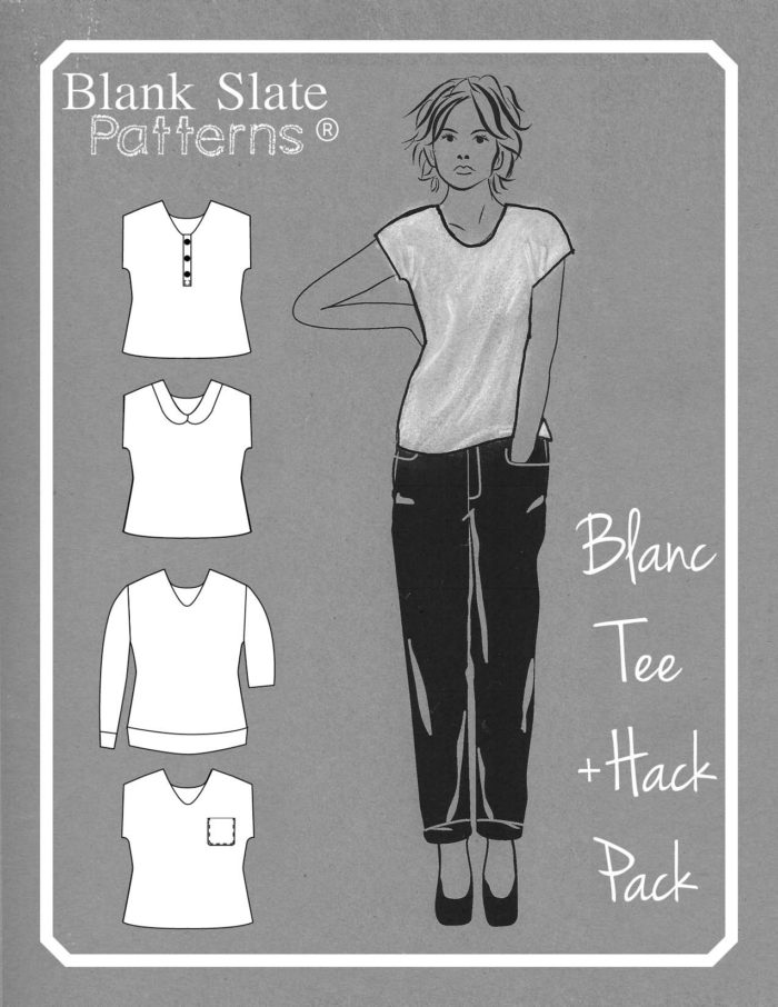 Cover - Blanc T Shirt Sewing Pattern by Blank Slate Patterns - Get the Hack Pack to add more options to your pattern! Shop blankslatepatterns.com