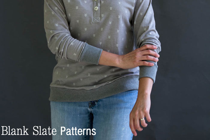 Long Sleeves - Blanc T Shirt Sewing Pattern by Blank Slate Patterns - Get the Hack Pack to add more options to your pattern! Shop blankslatepatterns.com