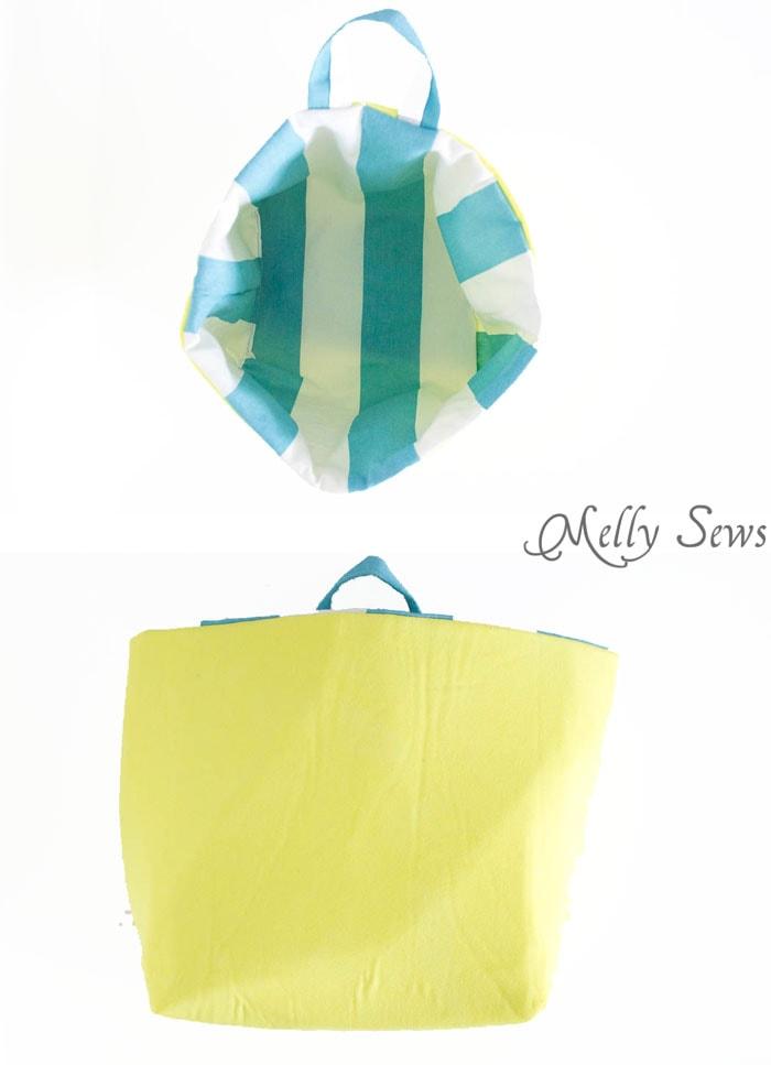 Sew a bucket for pegboard - DIY peg board organization tutorial by Melly Sews