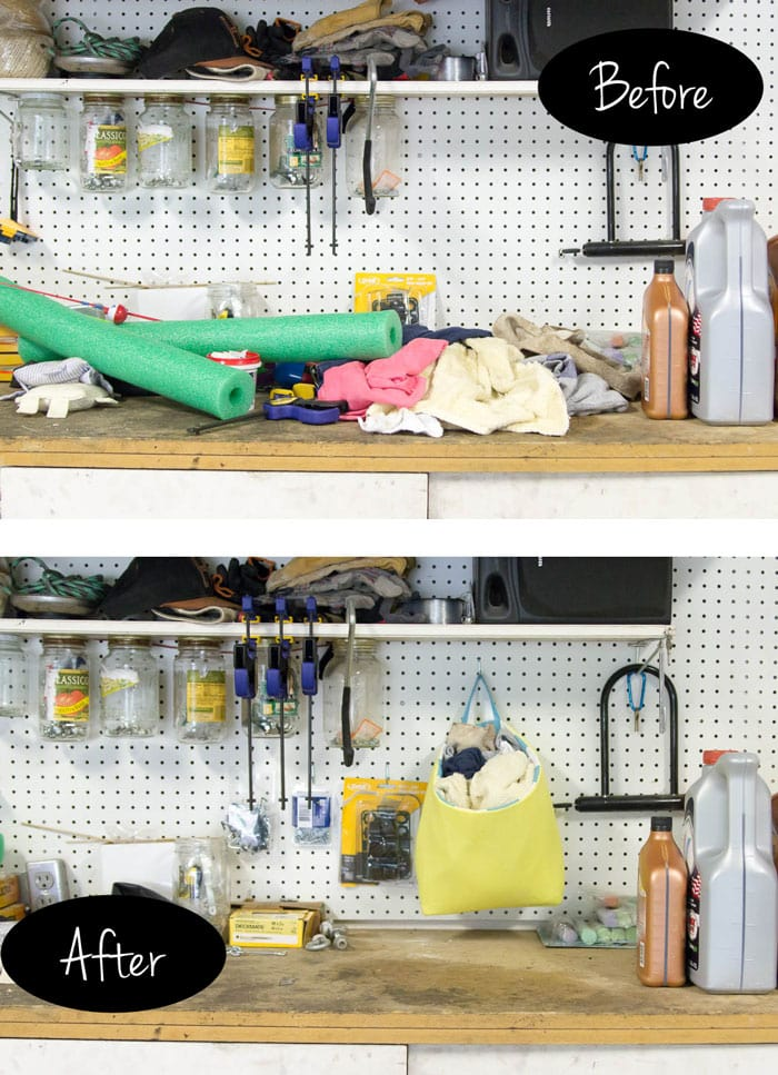 Before and after - Sew a bucket for pegboard - DIY peg board organization tutorial by Melly Sews