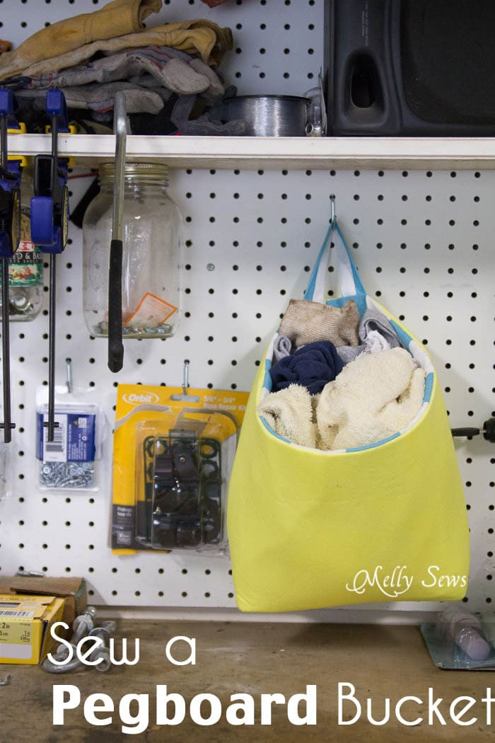 Sew a bucket for pegboard - DIY peg board organization tutorial by Melly Sews