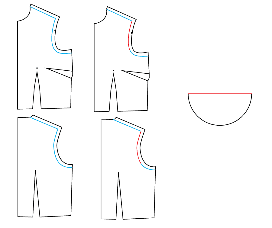 Diagram - Draft a Flutter Sleeve - How to easily add a sleeve to a dress