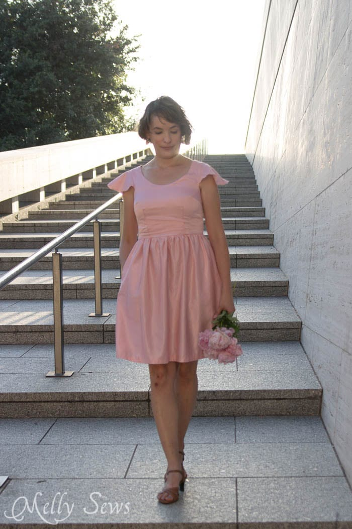 Pink Silk Dress -How to add a sleeve to a dress - it's simple to add a flutter sleeve with this DIY sewing tutorial by Melly Sews