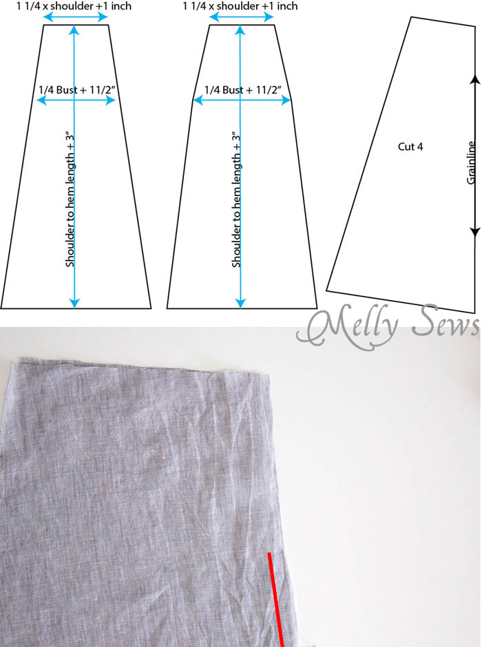 Step 1 - Linen Sundress Tutorial - DIY Dress for any size by Melly Sews for (30) Days of Sundresses