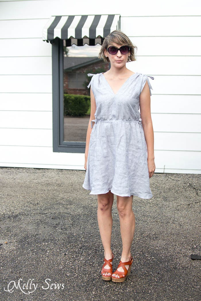 Breezy style - Linen Sundress Tutorial - DIY Dress for any size by Melly Sews for (30) Days of Sundresses