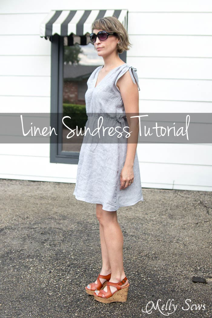 Linen Sundress Tutorial - Make for any size by Melly Sews for (30) Days of Sundresses - Sew this DIY Dress