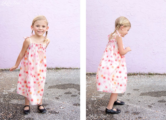 Side View - Sew an easy shirred sundress - so cute and quick! DIY sewing tutorial by Melly Sews for (30) Days of Sundresses