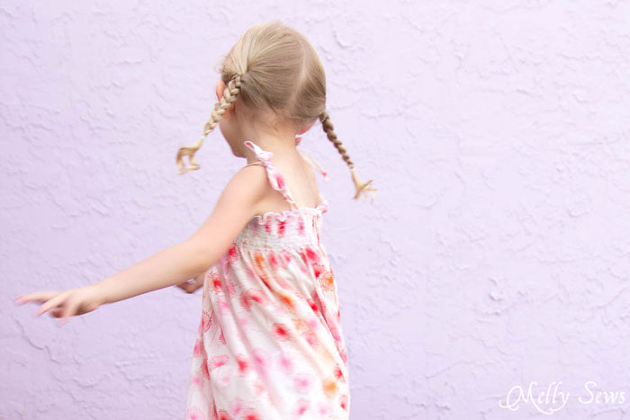 Twirling - Sew an easy shirred sundress - so cute and quick! DIY sewing tutorial by Melly Sews for (30) Days of Sundresses
