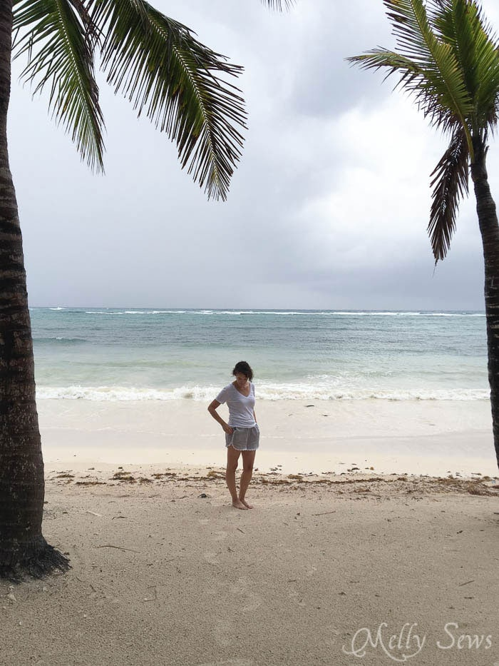 Shorts in Riviera Maya, Mexico. Sew these DIY shorts with a free pattern from Melly Sews